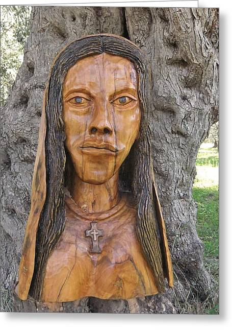 For Sale Sculptures Greeting Cards - Our Lady olive wood sculpture Greeting Card by Eric Kempson