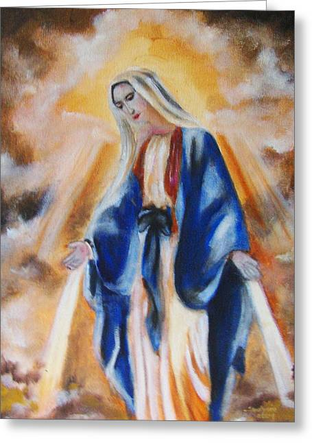 Religious Paintings Greeting Cards - Our Lady Greeting Card by Ryszard Ludynia