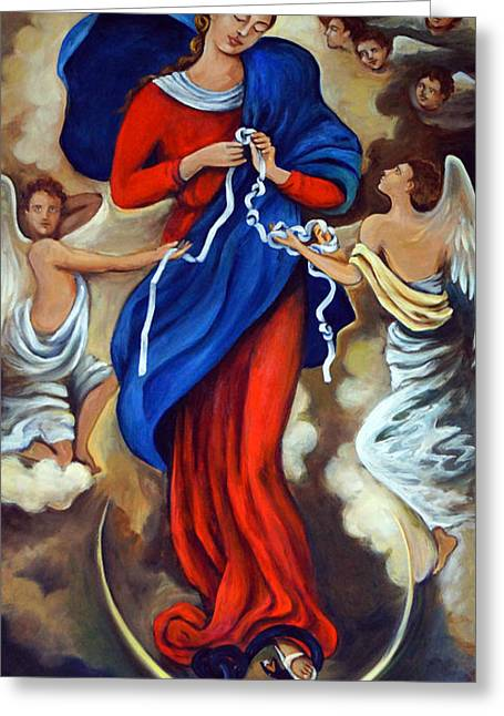 Queen Of Heaven Greeting Cards - Our Lady Undoer of Knots Greeting Card by Valerie Vescovi