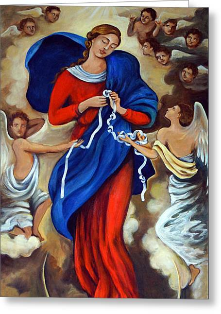 Satan Greeting Cards - Our Lady Undoer of Knots Greeting Card by Valerie Vescovi