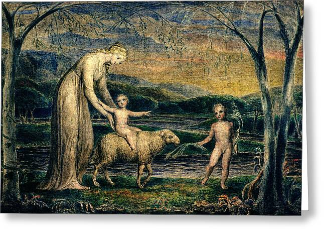 Female Christ Greeting Cards - Our Lady With The Infant Jesus Riding On A Lamb With St John Greeting Card by William Blake