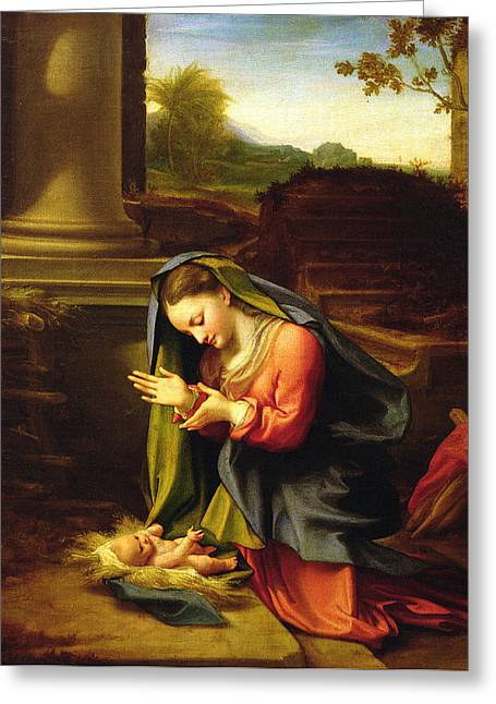 Christ Child Greeting Cards - Our Lady Worshipping the Child Greeting Card by Correggio