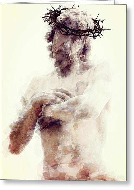 Calvary Mixed Media Greeting Cards - OUR LORD and SAVIOR Greeting Card by Daniel Hagerman