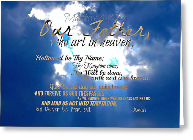 Our Lords Prayer Greeting Card by Sharon Soberon