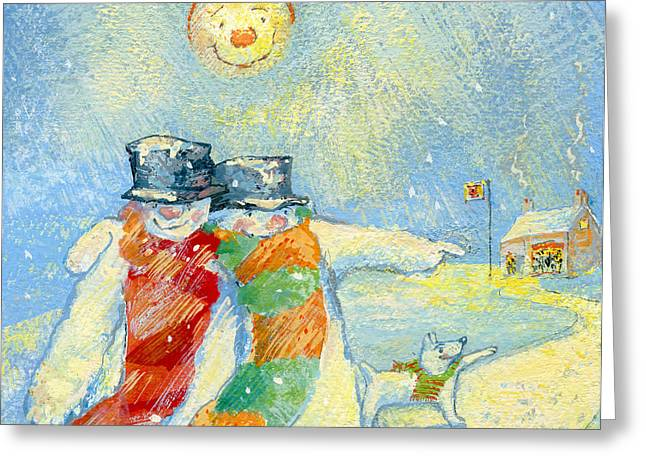 Winter Night Greeting Cards - Our Night Out, 2008 Gouache On Paper Greeting Card by David Cooke