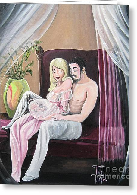 Pregnancy Paintings Greeting Cards - Our Precious Moment Greeting Card by Toni  Thorne