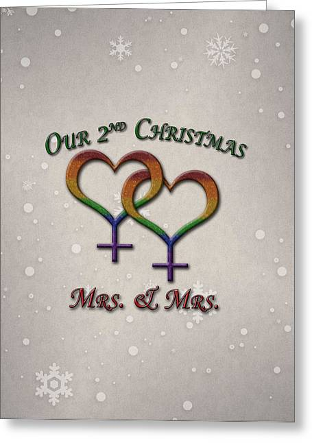 Our Second Christmas Lesbian Pride Greeting Card by Tavia Starfire