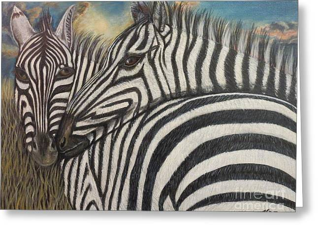 Zebra In Acrylic Greeting Cards - Our Stripes May Be Different But Our Hearts Beat As One Greeting Card by Kimberlee  Baxter