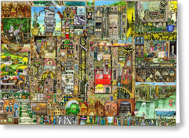 Steam Punk Greeting Cards - Our Town Greeting Card by Colin Thompson