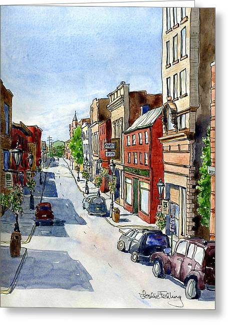 High Street Greeting Cards - Our Town Greeting Card by Leslie Fehling