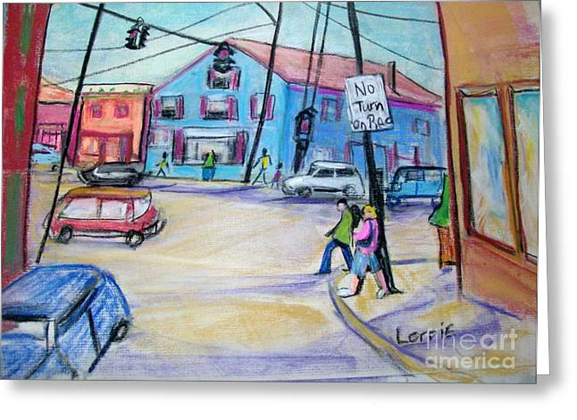 Town Pastels Greeting Cards - Our Town Greeting Card by Lorrie Sniderman