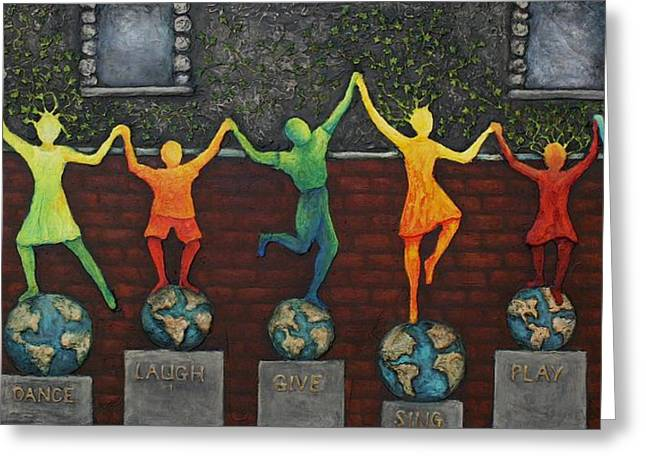 Hand Reliefs Greeting Cards - Our World Greeting Card by Linda Carmel