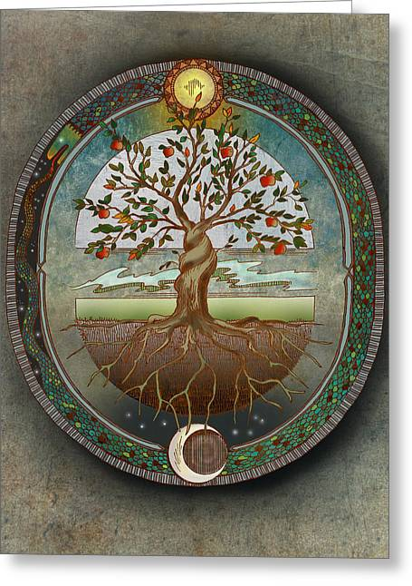 Tree Roots Mixed Media Greeting Cards - Ouroboros Greeting Card by Brenda Erickson