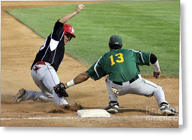 Baseball Game Greeting Cards - Out at third Greeting Card by Bob Hislop