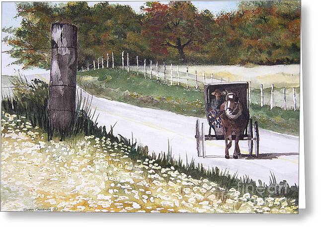 Gravel Road Paintings Greeting Cards - Out for a Ride Greeting Card by Susan Crossman Buscho
