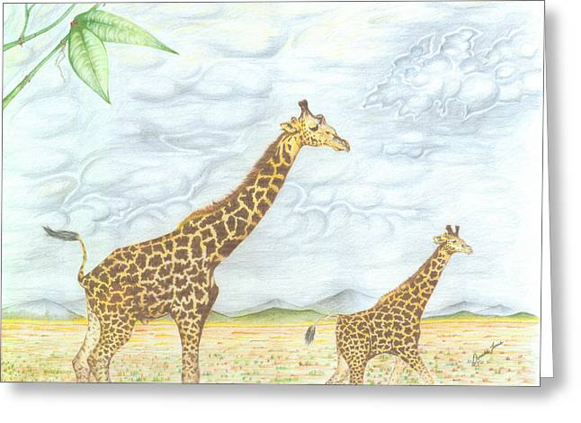 Madagascar Drawings Greeting Cards - Out for a Stroll Greeting Card by Donald Jones