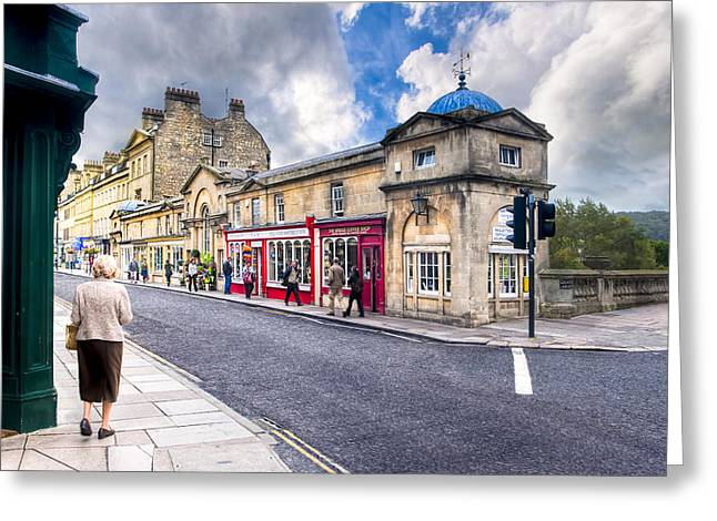 Grade 1 Greeting Cards - Out For A Walk on Pulteney Bridge in Bath England Greeting Card by Mark Tisdale