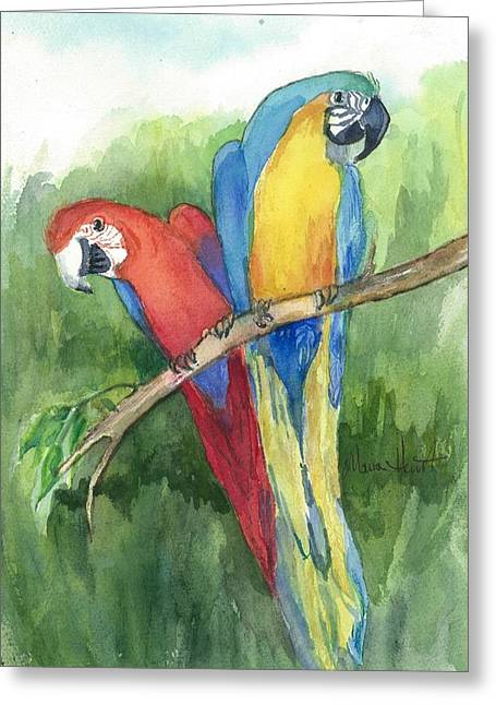 Parrot Paintings Greeting Cards - Out for Lunch in the Wild Greeting Card by Maria Hunt
