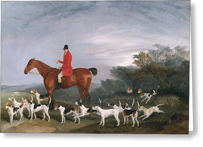 The Horse Greeting Cards - Out Hunting, 1841 Oil On Canvas Greeting Card by Richard Barrett Davis