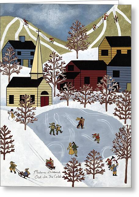 Skiing Art Prints Greeting Cards - Out In The Cold Greeting Card by Medana Gabbard