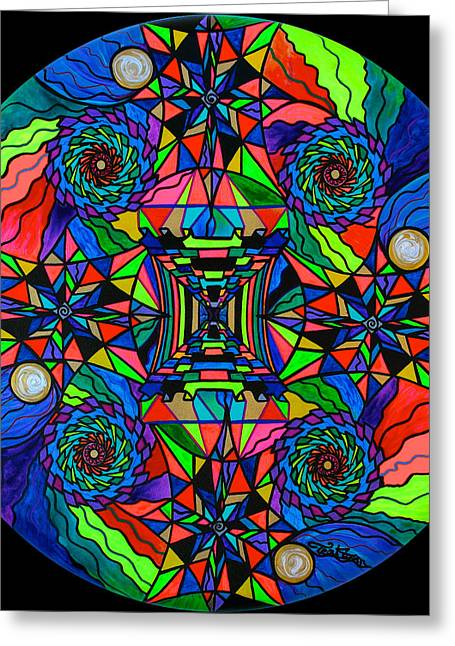 Frequency Products Greeting Cards - Out of Body Activation Grid Greeting Card by Teal Eye  Print Store