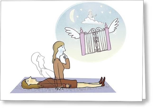 Pearly Gates Greeting Cards - Out-of-body state, conceptual artwork Greeting Card by Science Photo Library