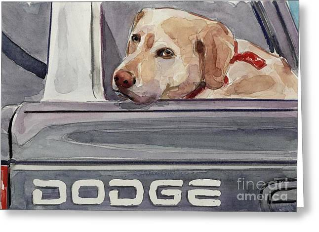 Yellow Dog Paintings Greeting Cards - Out of Dodge Greeting Card by Molly Poole