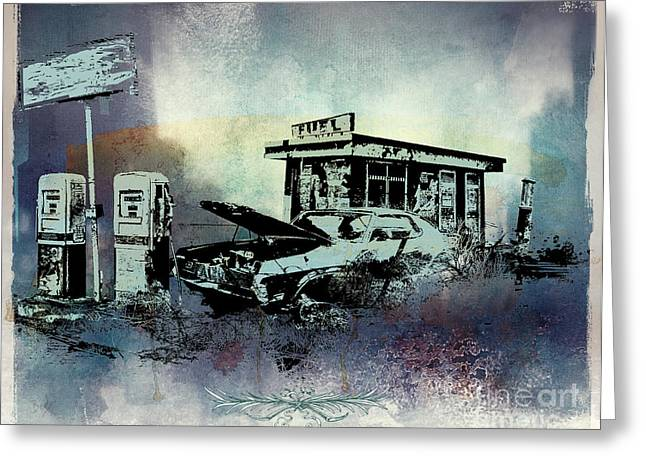 Old Town Mixed Media Greeting Cards - Out of Fuel Greeting Card by Bedros Awak