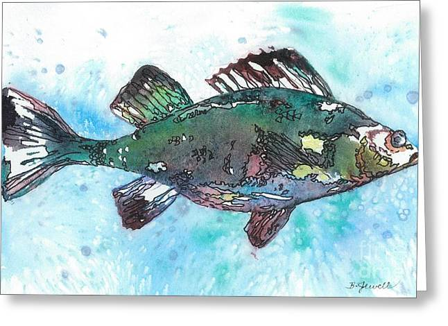 Brightly Colored Fish Greeting Cards - Out of School Greeting Card by Barbara Jewell