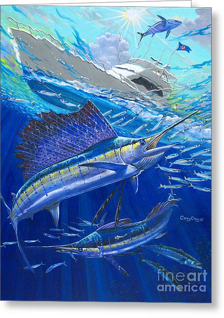 Striped Marlin Greeting Cards - Out Of Sight Greeting Card by Carey Chen