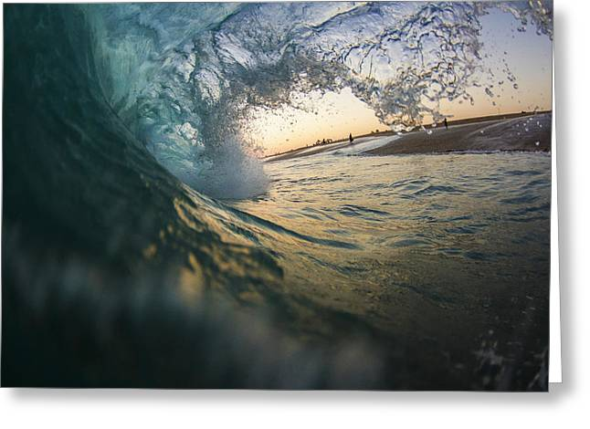 Ocean Photography Greeting Cards - Out Of The Barrel Into The Sunset Greeting Card by Kyle Morris