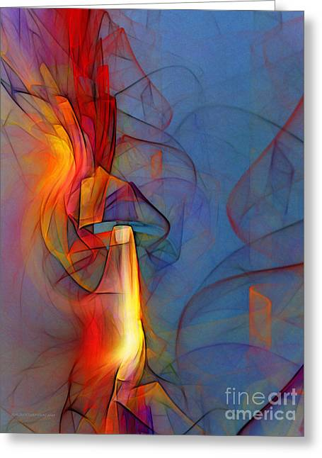 Art Of Design Greeting Cards - Out of the Blue-Abstract Art Greeting Card by Karin Kuhlmann