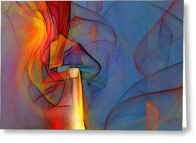 Out of the Blue-Abstract Art Greeting Card by Karin Kuhlmann