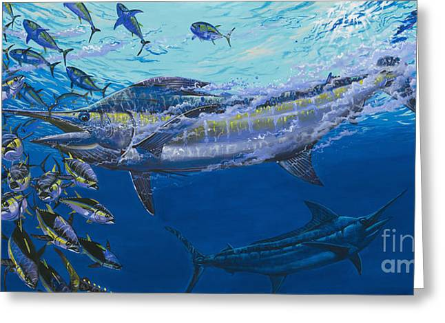 Striped Marlin Greeting Cards - Out of the blue Off009 Greeting Card by Carey Chen