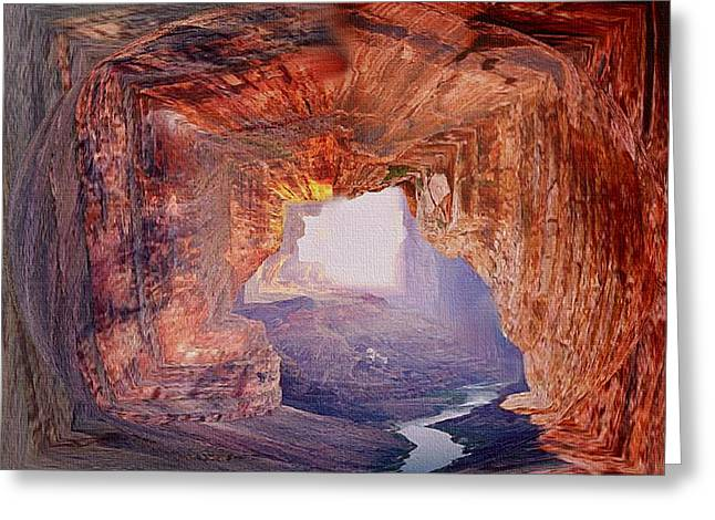 The Grand Canyon Mixed Media Greeting Cards - Out Of The Canyon Greeting Card by Dennis Buckman