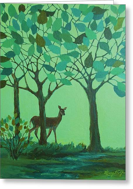 Out Of The Forest Greeting Card by Mary Wolf