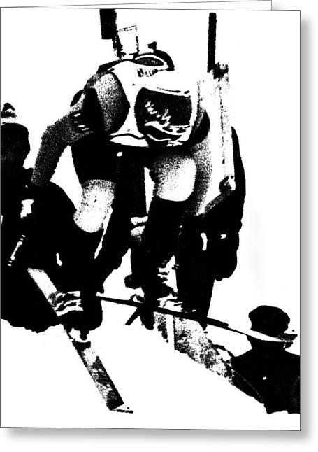 Ski Racing Greeting Cards - Out of the Gate Greeting Card by Larry Kjorvestad