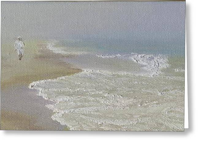 Foggy Beach Paintings Greeting Cards - Out of the Mist Greeting Card by Lea Novak