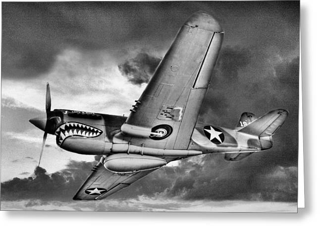 Ww Ii Greeting Cards - Out of the Storm BW Greeting Card by JC Findley