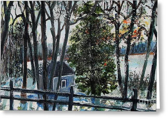 Walden Pond Greeting Cards - Out of the Woods at Walden Pond Greeting Card by Rita Brown