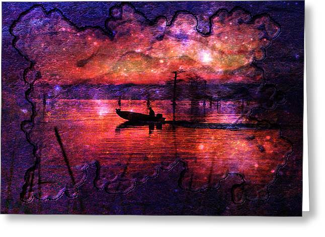 Waterscape Digital Art Greeting Cards - Out Of This World Fishing Hole Greeting Card by J Larry Walker