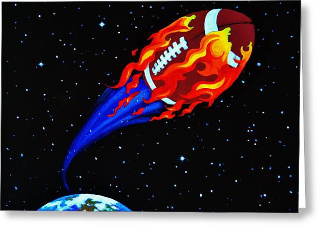 Sports Mural Pictures Greeting Cards - Flaming Balls  #1 Greeting Card by Thomas Kolendra