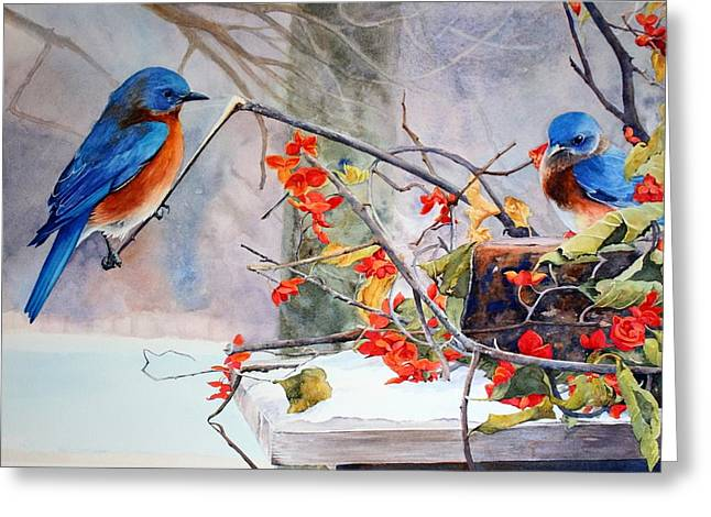 Bittersweet Paintings Greeting Cards - Out on a Limb Greeting Card by Brenda Beck Fisher