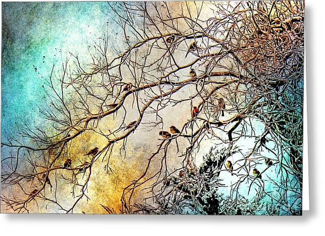 Abstract Rain Greeting Cards - Out On A Limb in Jewel Tones Greeting Card by Barbara Chichester