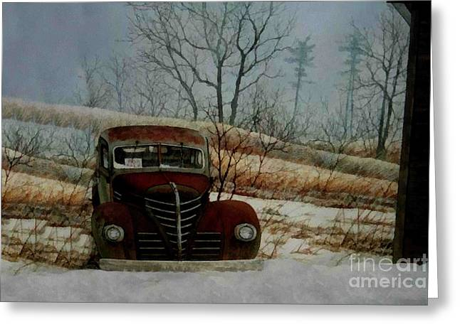 Old Barns Greeting Cards - Out side the Barn Greeting Card by Scott B Bennett