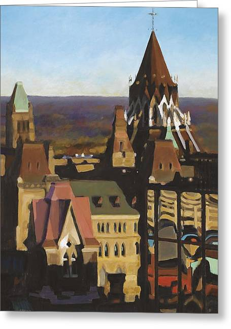 Ottawa Skyline Greeting Cards - Out the Bosss Window Greeting Card by Anne F Marshall
