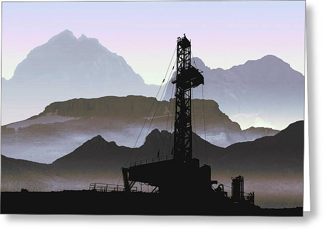 Oil Pumper Mixed Media Greeting Cards - Out There Drilling Greeting Card by Daniel Hagerman