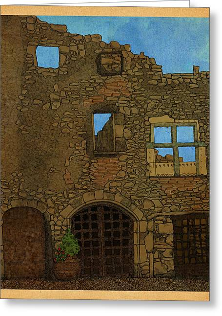 Ruin Greeting Cards - Out There Greeting Card by Meg Shearer
