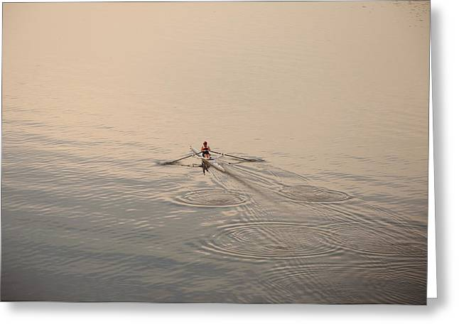 Rowing Crew Greeting Cards - Out There on Your Own Greeting Card by Bill Cannon