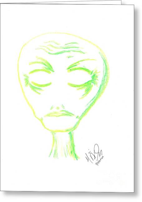 Outerspace Pastels Greeting Cards - Out There Outline Greeting Card by Marie De Garo